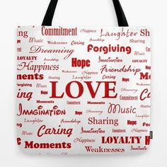 """""""Love is White & Red"""" tote bag by George Barakoukakis. Our quality crafted Tote Bags are hand sewn in America using durable, yet lightweight, poly poplin fabric. All seams and stress points are double stitched for durability. They are washable, feature original artwork on both sides and a sturdy 1"""" wide cotton webbing strap for comfortably carrying over your shoulder."""