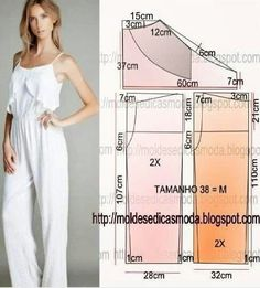 Romper or jumpsuit pattern Sewing Patterns Free, Sewing Tutorials, Clothing Patterns, Dress Patterns, Jumpsuit Pattern, Pants Pattern, Diy Clothing, Sewing Clothes, Fashion Sewing