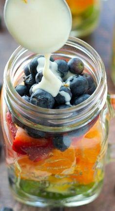 Rainbow Fruit Salad In A Jar with Citrus Yogurt Dressing