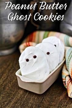 Peanut Butter Ghost Cookies with homemade Nutter Butters #HalloweenTreatsWeek