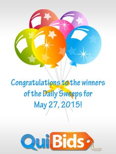 Congrats to the Daily Sweepstakes winners from May 27, 2015: thecharlesm1, avanigarg1, bcmoga, and neldajoe!