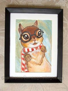 Chipmunk Art Print Squirrel Nerdy Cute Portrait Animal Illustration 5x7  How cute is this?  $12 at Etsy