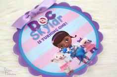 Doc McStuffins Birthday Invitation - Round Flower Scallop Shape | Birthday Party Invitations | Cute | Girly | Adorable