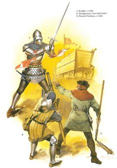 German Medieval Armies, 1300-1500 - A knight c. 1420, a handgunner and a Hussite flailman c. 1425. Osprey Publishing