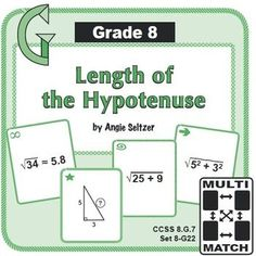 "This set of 36 printable game cards will help students calculate the length of the hypotenuse of a triangle (8.G.7). The ""8G"" in the title stands for Grade 8, geometry domain. Also see the related set, The Pythagorean Theorem and Coordinates. ~by Angie Seltzer"