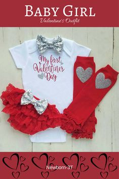 2020 Toddler Baby Girls My First Valentine Day Romper Bodysuit Jumpsuit Outfits