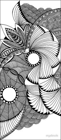 flying fans black and white zentangle by myslewis at redbubble.com