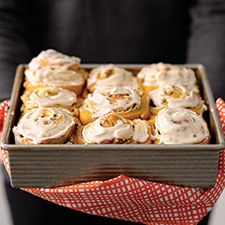 Autumn-inspired breakfast rolls with a swirl of maple cream cheese filling.