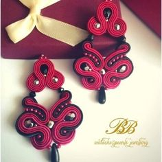 Elegant butterfly earrings made with red&black soutache braids.
