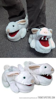 Monty Python Killer Rabbit Slippers… I need these for my feet! @Shannon Bellanca Williams