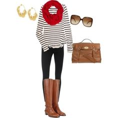 Black and white striped top + red scarf + jeans + tan bag and boots + gold statement earrings
