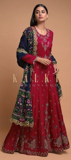 Crimson red anarkali suit in cotton silk with zardozi, zari, thread and sequins embroidery in floral buttis. Wedding Salwar Kameez, Embroidery Online, Zardozi Embroidery, Anarkali Suits, Cotton Silk, Hemline, Festive, Ethnic, Sequins