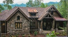 Balsam Mountain Lodge - archival designs- love this 3 bedroom 2 bath house Plan. Has option to become 6 bedroom 5 bath with basement. Includes a wine cellar! Dream home for sure Rustic Cafe, Rustic Restaurant, Rustic Cottage, Rustic Farmhouse, Rustic Logo, Kitchen Rustic, Rustic Outdoor, Farmhouse Style, Rustic House Plans