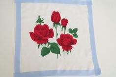 1970s Red Roses Handkerchief - American Beauty Roses Hanky Blue Border - Bride Wedding Love - Collectible - Valentines Day Hankie - Gift