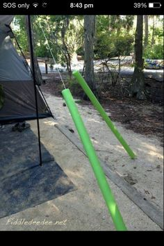 Use pool noodles to stop people tripping over tent ropes