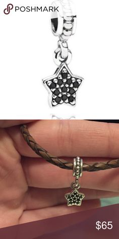 Pandora charm Hanging star charm with black diamonds Pandora Jewelry Bracelets