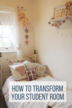Tips and ideas on creating a 'home from home' in your student dorm room while you're away using budget interiors and accessories