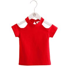 Girls Summer Off Shoulder Red Black O Neck T-Shirts //Price: $6.26 & FREE Shipping //     #girlsdresses Toddler Girl Outfits, Kids Outfits, Off Shoulder T Shirt, Girl Sleeves, Little Fashionista, Cool Sweaters, Summer Girls, Outfit Sets, Red Black