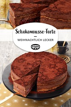 Christmas chocolate mousse cake- Weihnachtliche Schokoladenmousse-Torte Christmas chocolate mousse cake: nutty, flour-free floors with a loose chocolate mousse and cherry filling - Chocolate Mousse Pie, Mousse Cake, Chocolate Cream, Chocolate Chip Cookies, Chocolate Cake, Fall Desserts, Christmas Desserts, Cakes Originales, Cookie Recipes