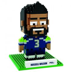 NFL Seattle Seahawks Russell Wilson #3 BRXLZ Team Logo Football Puzzle Set Toy