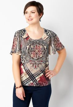 861e6e25e7dff ... print with medallion-inspired details and super-shimmery rhinestone  accents. Flutter sleeves lend a fun