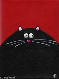 "Acrylic Fine Art Painting on Canvas Fat Cat Series Whimsical Black Kitty 9x7"" | eBay"