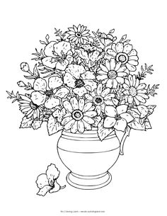 Coloring Pages Of Flowers In A Vase Flower Top