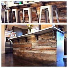 Reclaimed Wood Kitchen Island Countertop 66 New Ideas Reclaimed Wood Kitchen, Reclaimed Wood Projects, Kitchen Rustic, Kitchen Industrial, Reclaimed Wood Countertop, Ikea Industrial, Reclaimed Wood Bars, Industrial Closet, Rustic Kitchens