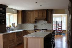 Oak Cabinet Subway Tile Granite Countertops