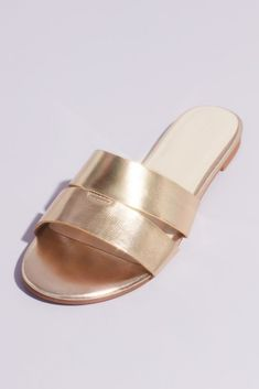 Be it with jeans or with a dress, these double-strap metallic slide sandals will add a luminous touch to every outfit. By Madden Girl Synthetic Imported Beige Sandals, Girls Sandals, Davids Bridal, Rose Gold, Silver, Shoes, Metallic, Touch, Outfit
