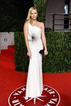 Pin for Later  Celebrate Charlize Theron s Birthday With Her Best Looks! Charlize  Theron Style Gorgeous in white Atelier Versace at the 2011 Vanity Fair ... 002ee776d5d