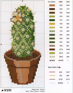 cacto Cactus Cross Stitch, Cross Stitch Tree, Cross Stitch Flowers, Cross Stitch Charts, Modern Cross Stitch Patterns, Cross Stitch Designs, Cross Stitching, Cross Stitch Embroidery, Stitch Witchery