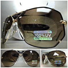 33a09e8e6c8 Mens Women CLASSIC VINTAGE RETRO Style SUN GLASSES Large Unique Gold Black  Frame