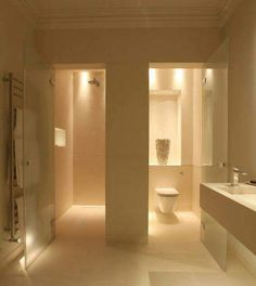 [Teresa] Frosted glass door that swings open for master bathroom toilet and spa lighting.