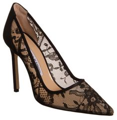 ~ Living a Beautiful Life ~ Manolo Blahnik Lace BB pump Black Lace Pumps, Black Slip On Shoes, Lace Heels, Pumps Heels, Stiletto Heels, Stilettos, Sapatos Manolo Blahnik, Zapatos Shoes, Beautiful Shoes