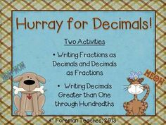 In the first activity, students are asked to write each fraction as a decimal and write each decimal as a fraction. In the second activity, students are asked to use the model cards to write decimals greater than one through hundredths. Teaching Math, Maths, Teaching Resources, Teaching Ideas, Comparing Decimals, Recording Sheets, Teacher Style, Common Core Math, Fractions