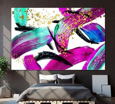 Purple Abstract Painting Violet Wall Art Abstract Modern Print Violet Wall Decor Tender Wall Art Modernism Art Effect Art Minimalist by ArtWog Office Wall Decor, Office Walls, Modern Prints, Modern Wall Art, Minimalist Artwork, Thing 1, Golden Glitter, Brush Strokes, Ultra Violet