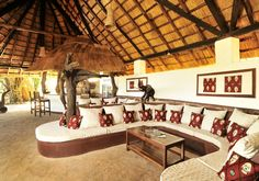 Kafunta River Lodge bar and lounge.