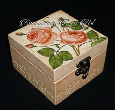 Handmade decorated jewelry box, Romantic rose jewelry box, Painted jewelry box, Gift jewelry box, Transylvania gift