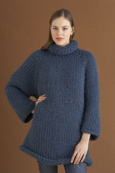 super simple, cozy, chunky knit, oversized sweater... probably a great first-sweater option for beginner knitters.    Casual Comfort Pullover