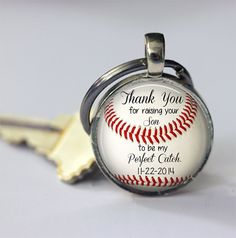 """Gift for Father of the Groom - Personalized BASEBALL key chain with wedding date - """"Thank you for raising your son to be my perfect catch"""""""