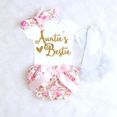Aunt Onesie, Baby Shower Gift, Aunties Bestie, Baby Girl Clothes, Aunt Baby Shower Gift from Aunt, Funny Aunt Baby shirt, aunt baby girl outfit K23 by KennedyClaireCouture on Etsy
