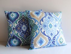 Two indoor/outdoor ikat print pillow covers, cushion, decorative throw pillow, coral pillow, 18x18, nautical pillow by ThatDutchGirlPillows on Etsy