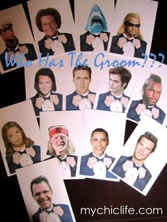 """""""who has the groom game"""" each guest gets sealed envelope when they arrive. Whoever had groom wins a prize! Super fun!"""