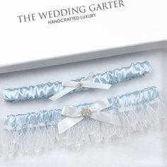 Penelope Blue Wedding Garter Set For Something Blue