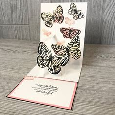 Teah Woodward: Butterfly Bouquet card with pop out center - Congratulations Fancy Fold Cards, Folded Cards, Pop Out Cards, Spinner Card, Bouquet, Card Making Tips, Shaped Cards, Stamping Up Cards, Congratulations Card