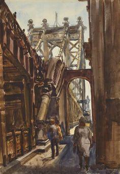Manhattan Bridge, 1938, Reginald Marsh. American Social Realist Painter (1898 - 1954)