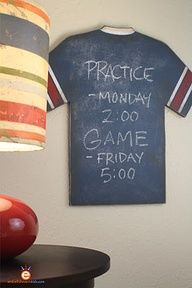 Boys sports room decorDIY- Do it yourself Vintage Sports Jersey Chalkboard by Aaron Christensen.  The project has a recipe for home-made chalkboard paint.
