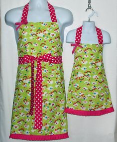 Matching Mommy Daughter Apron Rainbows and Hearts Mom Little