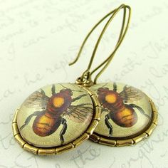 Bumble Honey Bee Entomology Earrings  Insect by JezebelCharms, $28.00